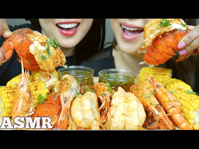 ASMR SEAFOOD BOIL LOBSTER TAILS SPOT PRAWNS *SISTER'S EDITION (EATING SOUNDS) NO TALKING | SAS-ASMR