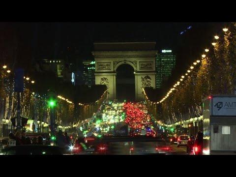 Paris's Champs-Elysees lit up for Christmas