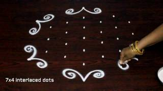 muggulu designs with 7x4 dots || simple kolam designs || easy rangoli  art designs