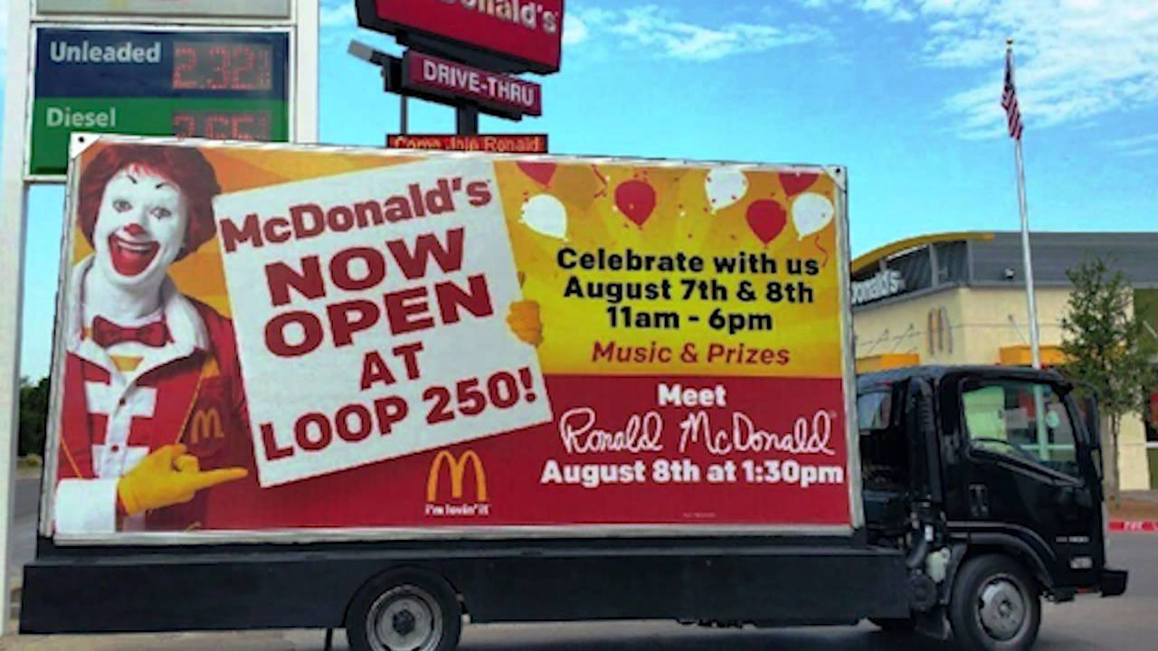 mcdonald s billboard truck midland texas www bulldogbillboards com
