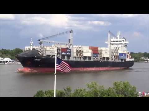 Savannah, Georgia - Savannah River Ship Traffic HD (2017)