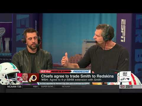 Aaron Rodgers on Alex Smith trade, Injury & upcoming super bowl | Golic & Wingo