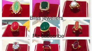 Latest gold ledies rings designs with colorful stones