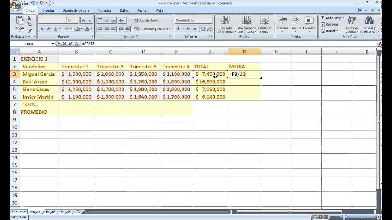 Como usar funciones de suma y divisi n en excel 2007 youtube for Como hacer una nomina en excel con formulas