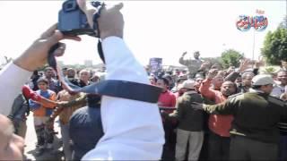 الأهالى يتظاهرون ضد الإرهاب بمسطرد بعد إنفجار القنبلة