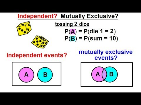 Statistics: Ch 4 Probability In Statistics (41 Of 74) Independent? Mutually Exclusive? EX 2