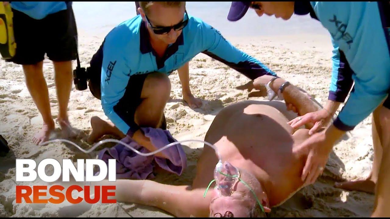 Man Goes Into Cardiac Arrest Bondi Rescue S9 Youtube