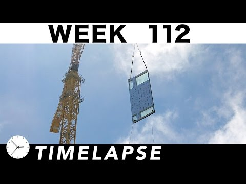 Construction time-lapse with 24 closeups: Week 112: Tower crane #3 goes up at the end of the week