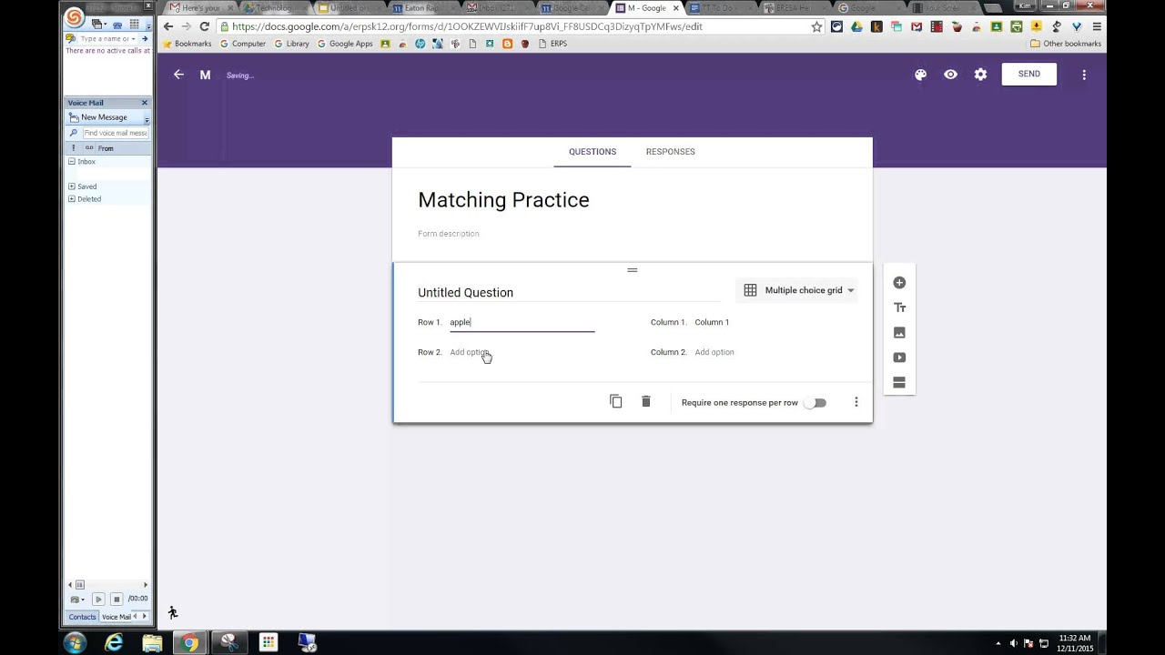 Creating A Matching Option On A Test Using Google Forms