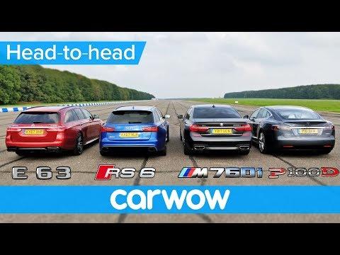 BMW M760Li v Tesla Model S v Audi RS 6 v Mercedes-AMG E63 S Estate DRAG & ROLLING RACE