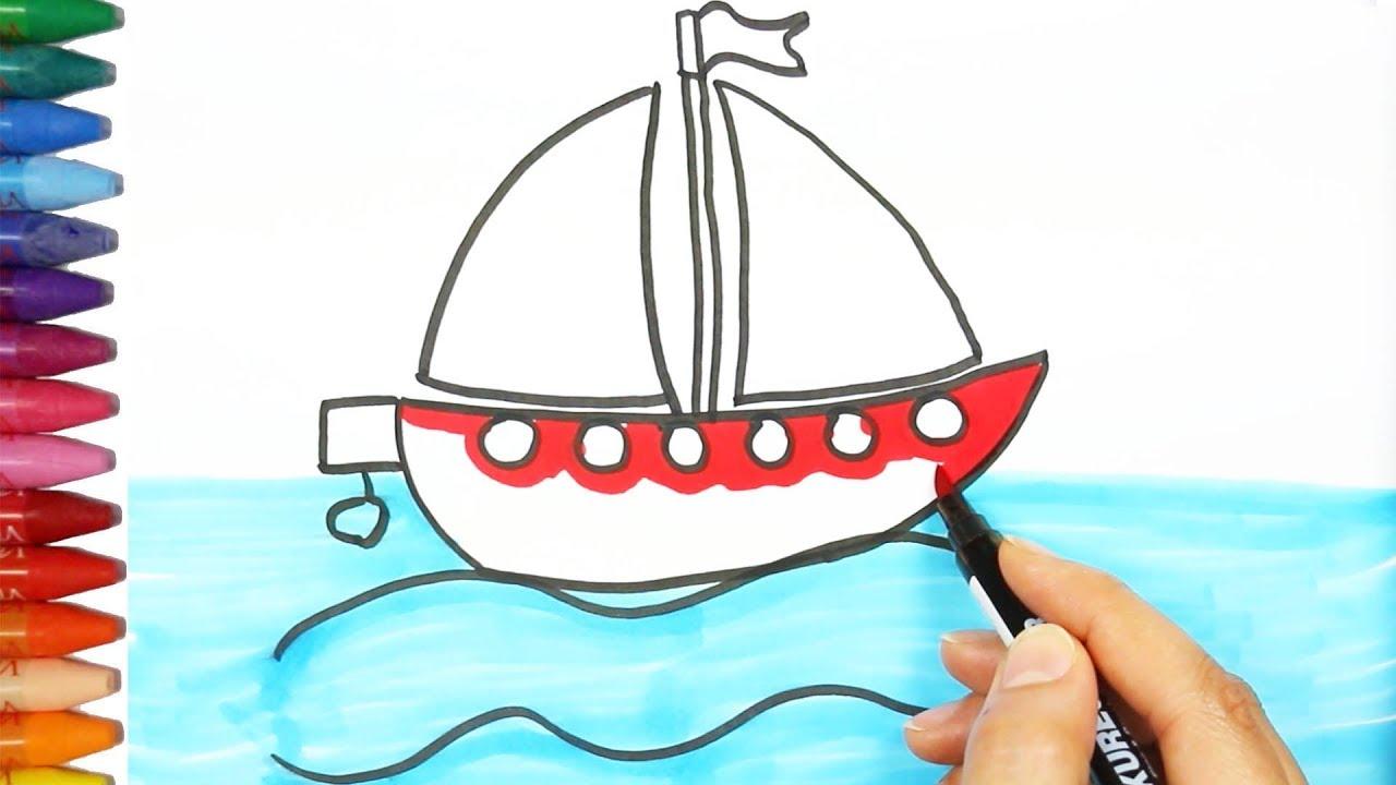 Cara menggambar kapal Cara Menggambar dan Mewarnai TV Anak