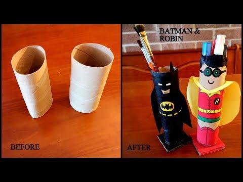 DIY TISSUE ROLL BATMAN AND ROBIN