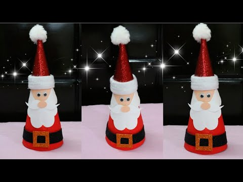 Santa Claus/Making Santa Claus from Paper Cone/Christmas Home Decor Ideas/Christmas Craft for Kids