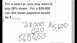 down payment calculations video