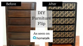 Furniture Makeover Tutorial: Classic Wood to Dramatic Deco Using a Stencil!