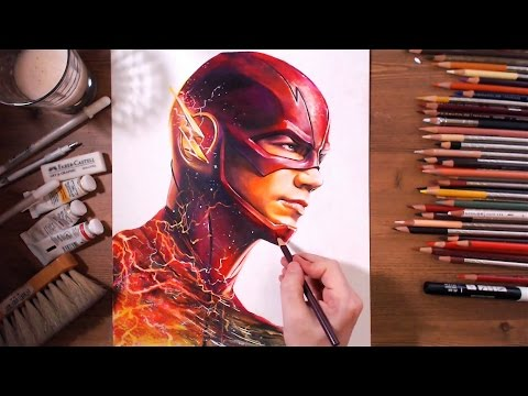 The Flash : Barry Allen (Grant Gustin) - speed drawing | drawholic