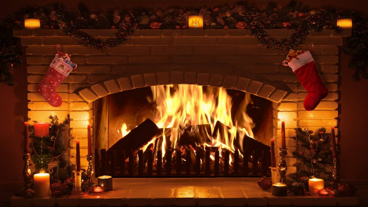Animated Fireplace Wallpaper Bright Burning Real Time Christmas Fireplace Recording In