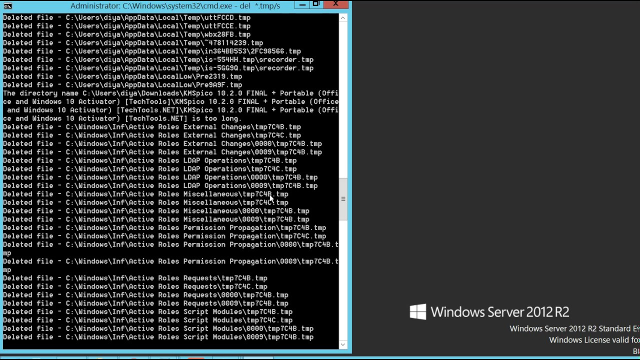 How to delete temporary files using Command Prompt on Windows