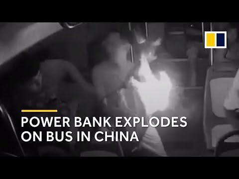 Power Bank Explodes In Owner's Arms On Bus In China