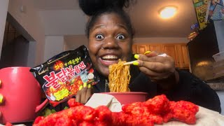 ASMR HOT CHEETOS w/ SPICY NOODLES *samyang* MUKBANG |vickey cathey