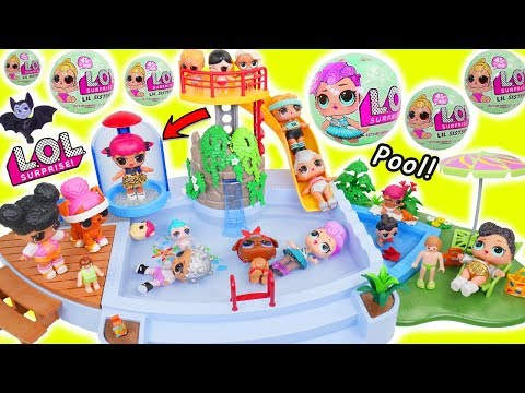 LOL Surprise Dolls + Lil Sisters at Play at Pool Slide with Pets and Puppies!