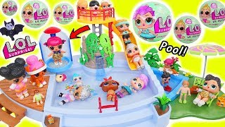 LOL Surprise Dolls + Lil Sisters at Play at Pool Slide with Pets