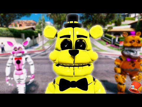 BRAND NEW GOLDEN FUNTIME FREDDY ANIMATRONIC! (GTA 5 Mods For Kids FNAF RedHatter)