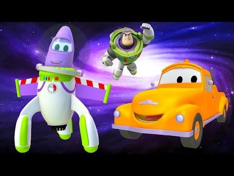 Tom the Tow Truck's Paint Shop Rocky the Rocket is Buzz Lightyear Toy Story Disney Pixar Cartoons 🚀