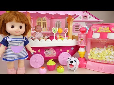 Baby doll Ice cream and Pop Corn cart play baby Doli house