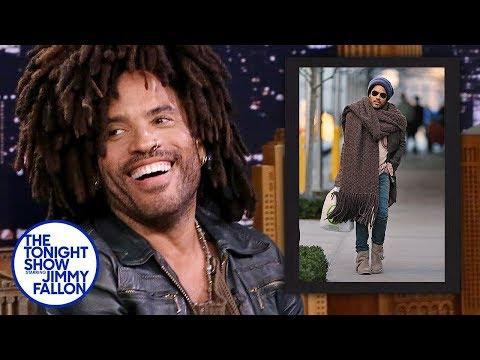 Lenny Kravitz Reacts to His Giant Scarf Meme