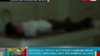 BP: Sundalo sa Davao del Norte, patay nang pagbabarilin ng mga miyembro ng NPA