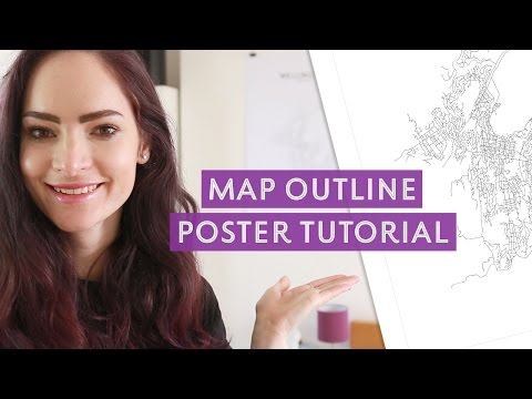 Map outline poster Illustrator tutorial - DIY GIFT IDEA | CharliMarieTV