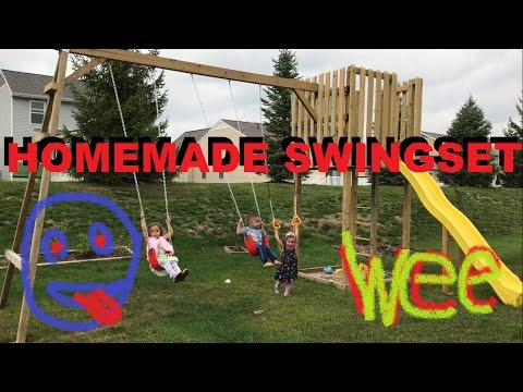 How To Make A Homemade Swingset In The Backyard Do It Yourself Kids Playset