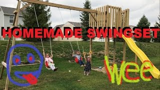 How To Make A Homemade Swingset In The Backyard Do It Yourself Kids Playset also check out the clubhouse i made just copy ...