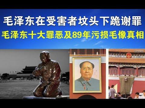 """宝胜视频要文:""""毛泽东""""在受害者坟头下跪谢罪、毛泽东十大罪恶及89年污损毛像真相"""