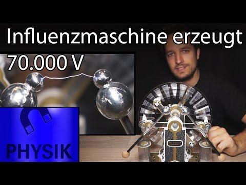 Influenzmaschine Handkurbelbetrieb Elektrisier-Maschine selber bauen Spannung