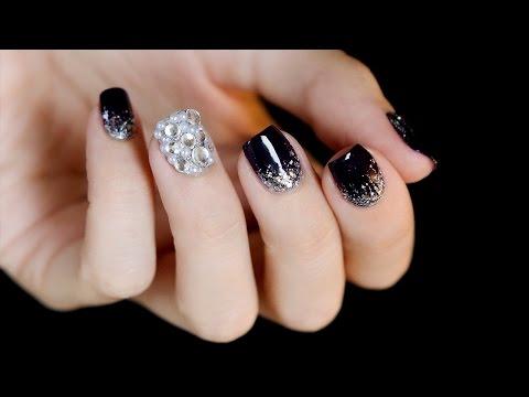 Rhinestones and Glitter Gradient Bling Nail Art