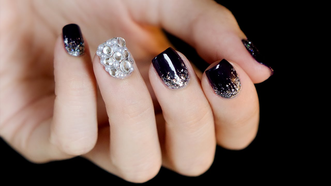 - Rhinestones And Glitter Gradient Bling-bling Nail Art - YouTube