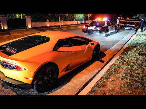 POLICE PULLOVER TWO 17 YEAR OLD LAMBORGHINI OWNERS IN BEVERLY HILLS!