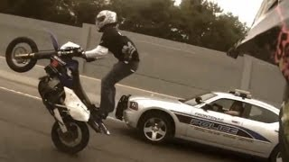 Motorcycle Stunts RIDE OF THE CENTURY ROC Bike Vs Police Street Stunt Running From The Cops Runs Cop