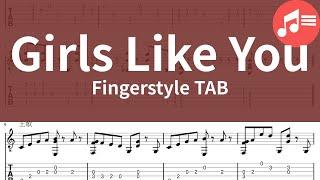 【Wen吉他譜】Maroon 5 - Girls Like You (Fingerstyle Guitar TAB)