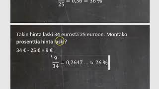 Kurssi 4: Prosenttilaskentaa ja tilastoja, osa4: Muutosprosentti ja prosenttiyksikkö