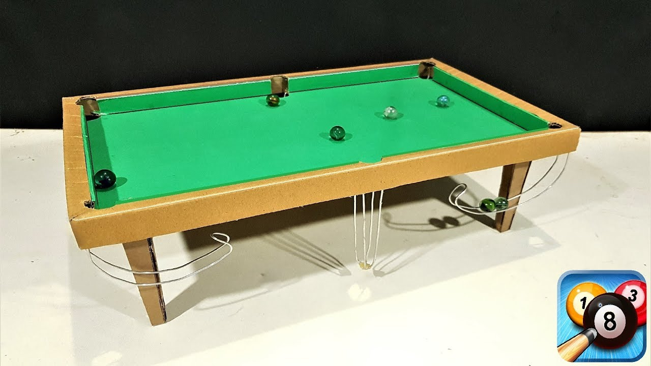 How to make 8 ball pool snooker table game from cardboard for How to build a billiard table