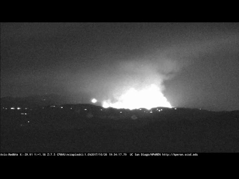 HPWREN Live Stream - 20171026 CA-CNF Wildomar Fire, as seen from Red Mountain in San Diego
