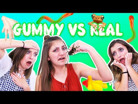 REAL VS GUMMY FOOD CHALLENGE ft BrooklynAndBailey