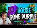 FLOATING CUBE ISLAND MAKES PURPLE SPAWN MAKER IN THE SKY HOUSE GONE PURPLE! FORTNITE ISLAND