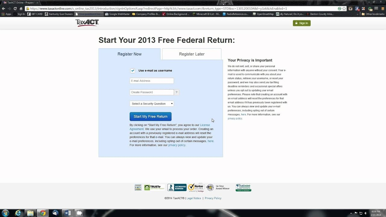 Efiling Your Taxes Yourself With Yourputer Online Review On Taxact