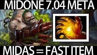 7.04 META Pudge Midas = Fast Item Gameplay by MidOne Dota 2 9K MMR Pro Player