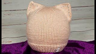 Детская шапочка Стильная Шапка-кошка. Подробный МК.