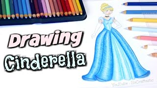 Drawing Cinderella // How To Draw a Disney Princess with colored pencil DIY